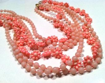 PINK Flower Multi strand plastic molded beads 60s Necklace Authentic Vintage Jewelry artedellamoda talkingfashion