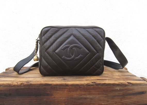 Vintage Brown Quilted Leather Faux Chanel  Purse