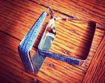 Denim Earrings- Square denim hoop jean earrings