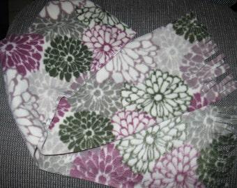 Flowered Fleece Fringed Scarf
