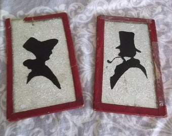 2 Antique Victorian Black Silhouette Lady & Gentleman Top Hat Wall Pictures Art