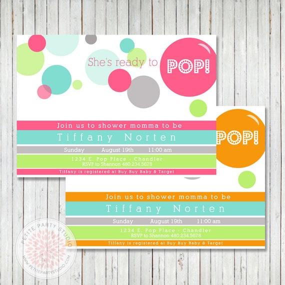 ready to pop baby shower printable party invitation petite party