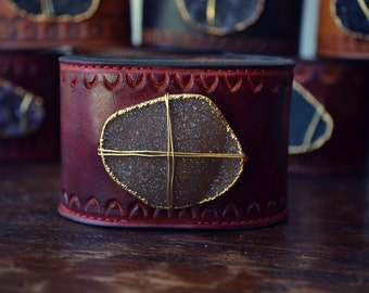 LUX CUFFS /// Druzy Leather Cuff