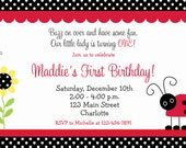 Ladybug birthday invitation -- lady bug party - Printable Invitation - You print or I print