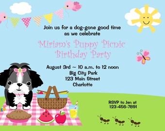 Puppy Birthday Party Invitation -- puppy picnic  birthday party -- puppy invitation -- picnic birthday