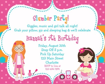 slumber party birthday party invitation -  pajama party, sleepover -  girls birthday party invitation - You print or I print