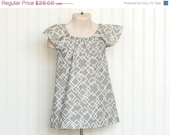 20% CLOSE OUT SALE White and Grey Geometric Peasant Dress