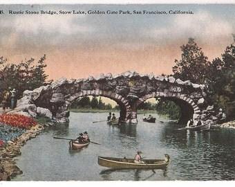 San Francisco Postcard California Golden Gate Park - Stow Lake Antique Postcard - San Francisco Souvenir
