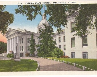 Florida Postcard Tallahassee Florida State Capitol - Vintage Linen Postcard