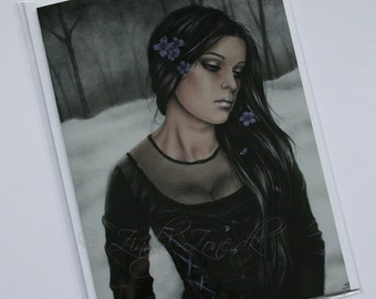 Dreary Winter Emo Goth Girl Satin Dress Greeting Card