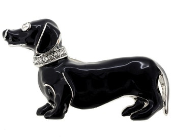 Black Dachshund Dog Pin Brooch 1000372
