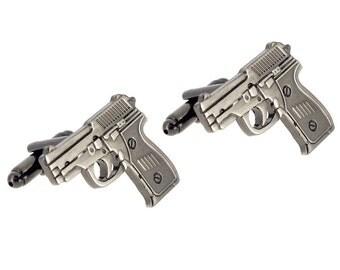 Black Hand Gun Pistol Cufflinks 1200254