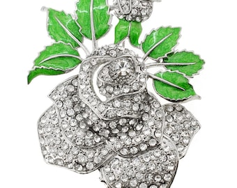 Rose & Green Leaf Pin Brooch 1002313