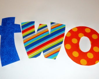 Iron On Applique Blue And Orange BIRTHDAY WORD......Birthday Year Number Two 2...Or Pick Number You Prefer