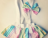 Toddler / Baby Skirt with detachable Suspenders - Pastel Rainbow Stripes- 100% cotton
