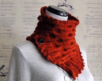 SALE--Scarf Hand Knit Cranberry Red ripple knit neckwarmer, Ready to ship
