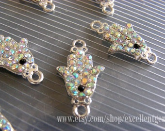 8 Rhinestone bracelet connector Hands of Fatima Hamsa High quality Silver plated with AB color crystal Bracelet Connector,12mm X 22mm