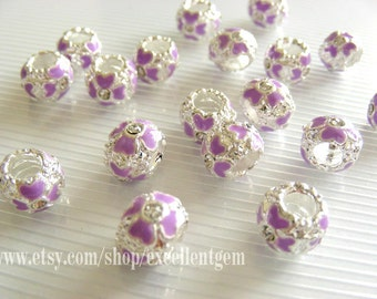 8pcs,Big hole Cloisonne beads-Silver tone with Clear crystal Rhinestones in purple,10mm x 8mm
