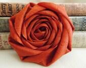 Rust orange flower - Fall orange rosette - burnt orange - autumn - fall decor - crafts - fall wedding - autumn wedding decor - diy bride -