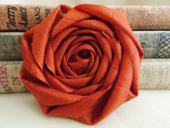 Rust orange flower - Fall orange rosette - burnt orange - autumn - fall decor - crafts - fall wedding - autumn wedding decor - diy bride -