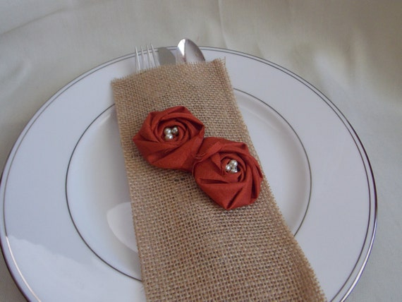 Thanksgiving Table Decor Burnt Orange Flowers with Pearls Burlap Silverware Envelope Rustic Shabby Chic Fall Decor Autumn Decor