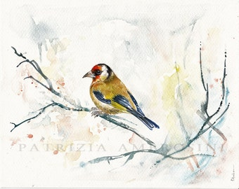 10x8  Original Watercolour  goldfinch.. NOT A PRINT ..Original Painting fine art bird