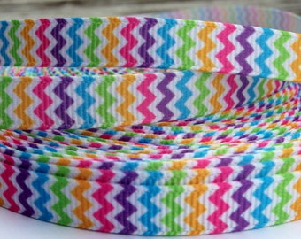 Pastel Rainbow Chevron Grosgrain Ribbon 3/8 Inch 9mm - 3 yards