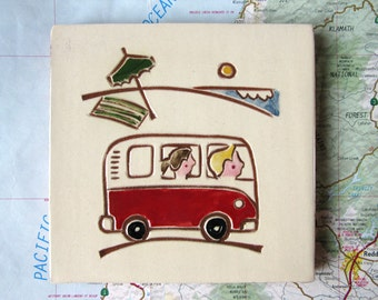 """Red VW bus, blond boy, brunette girl at the beach, handmade ceramic tile, coaster or wall hanging 4"""" x 4"""""""