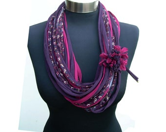 Women winter flowers pattern-infinity scarf necklace-fashion fabric belt-elegant recycled fabric necklace-loop necklace-purple violet fushia