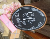 Gift Table Chalkboard Sign, Guest Book Instructions - Customizable Wood Slice Chalkboard Sign