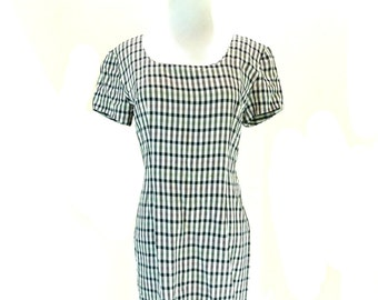 Vintage Plaid Mini Dress / Black and White Dress / Checkered Dress  M L