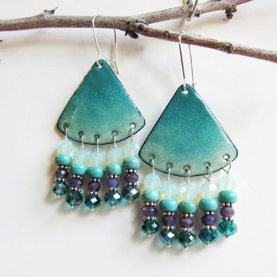 Turquoise chandelier earrings Enamel bohemian jewelry Aqua teal purple dangle earrings