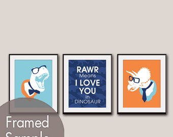 RAWR Means I Love You in Dinosaur (T-Rex and Triceratops) Set of 3 - Art Print (Maliblu, Navy and Orange Peel