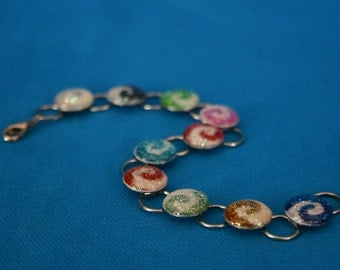 Glitter Swirl Bracelet Sparkling Linky Bracelet Handmade with resin