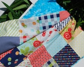 Moda. BEAUTIFUL Stroller/Pram Quilt. Happy-go-lucky by Bonnie and Camille. QUILTED 28x33 Fleece Back.