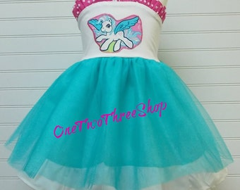 Custom Boutique Clothing My little Pony Tulle Dress  Sassy Girl
