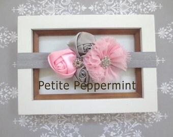 Baby headband Baby Flower Headband Infant Headband Toddler Headband - Pink and Gray Flower Headband
