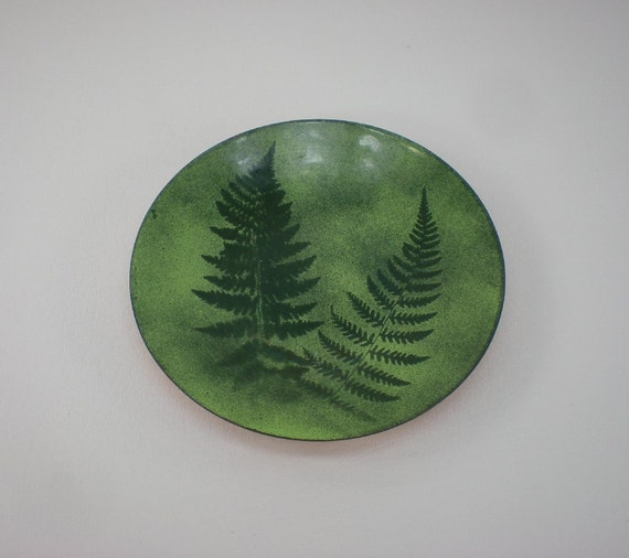 "Mid Century Enamel Copper 7"" Bowl Dish - Green Ferns - signed cV"