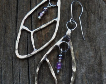 Hammered Brass Leaf Shape Earrings with Sparkle Glass Beads