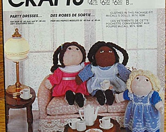 """Vintage 80's Cabbage Patch Doll Clothes, Party Dresses & Pinafores, 2 Sizes 16"""" and 18"""" McCall's 800 2290 Sewing Pattern UNCUT"""