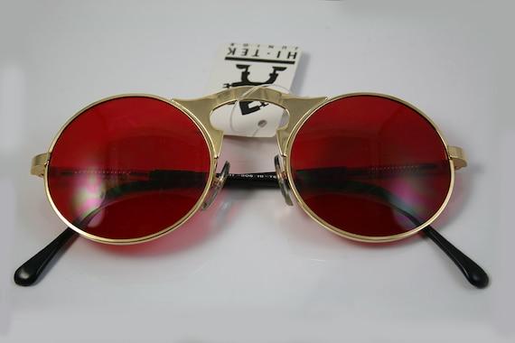 Red Lens Gold Frame Sunglasses : round sunglasses John Lennon style gold metal frame red lens
