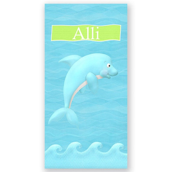 Personalized Beach Towel For Toddler: Dolphin Personalized Kids Beach Towel Personalized Beach