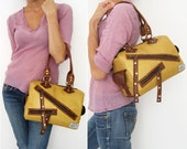 Mustard Satchel w/ Toffee Color Accents. Faux Leather Woman Shoulder Bag. Medium to Small Purse. Lucky Satchel Bag. FREE SHIPPING worldwide.