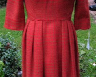 60s Vintage Day Dress / 60s Wool Dress / Orange and Pale Brown Plaid Dress / Buttons On Bodice