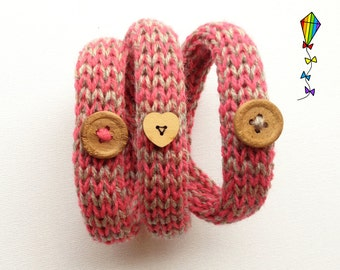 Juicy Pink Button Bangle - Knitted Bracelet / Knitted Bangle / Woollen Wristband / Knitted Wristlet / Woollen Bangle