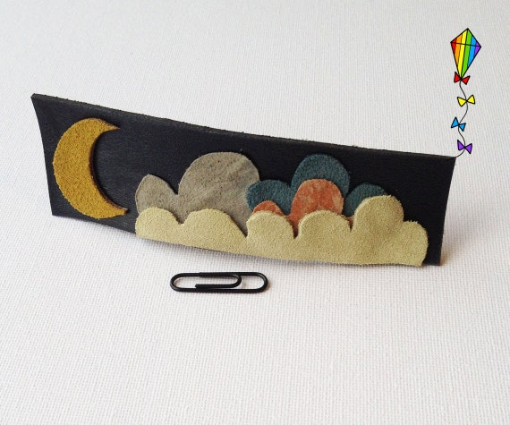 Large Hair Clip made from Reclaimed Leather - Midnight Design