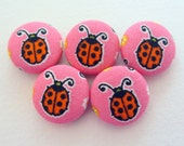 Kawaii ladybugs handmade fabric covered buttons  3/4 inches
