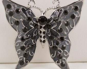 Butterfly Brooch Pin Silver with Grey Cloisonne