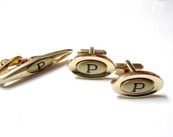 Letter P Cuff Links Tie Clip Set Vintage Signed Shields Men's Jewelry Jewelry Suit Tie Accessories Gift for Him Gift for Dad