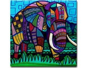 Elephant art Tile Ceramic Coaster Mexican Folk Art Print of painting by Heather Galler dog